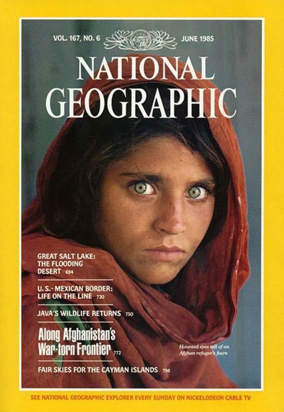 Copertina di National Geographic con il volto della ragazza afgana