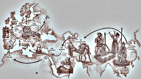 Viaggio della carta dalla Cina all'Europa