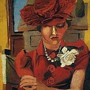 renato guttuso ritratto di mimise con il cappello rosso 1940