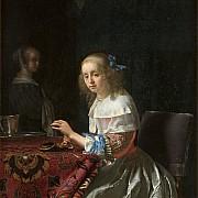 frans van mieris giovane donna con perle 1658
