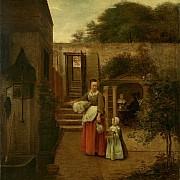 pieter de hooch donna con bambina in cortile 1658 1660 ca