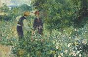 Auguste renoir cogliendo fiori 1875