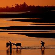 contadini guardano fiume atbara attraversabile in stagione secca con livello acqua basso atbara sudan 1980