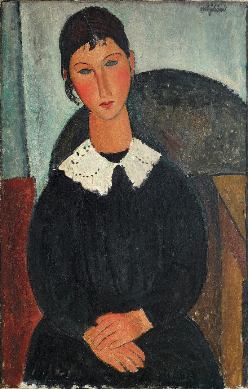 Amedeo Modigliani - Elvire con colletto bianco