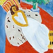 henri matisse giovane donna in bianco sfondo rosso 1946