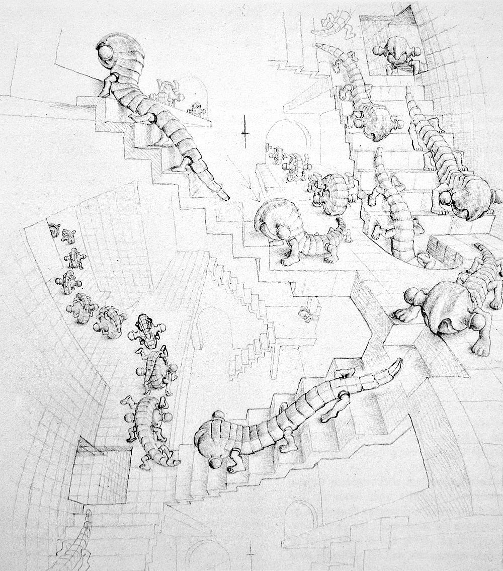 M.C. Escher - Studio per 'Treppenhaus'