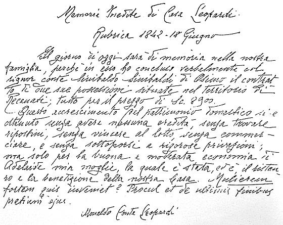 Scritto autografo in cui Monaldo Leopardi elogia la moglie per il sano regime di economia con cui ella conduce la vita di famiglia.