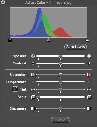 Mac Os X Preview - Controllo della saturazione