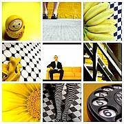 mosaico giallo bianco nero