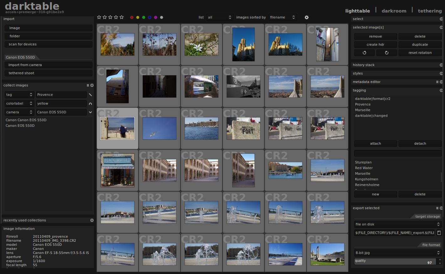 Schermata di un programma di elaborazione fotografica