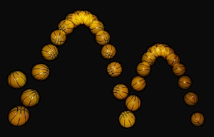 Fotografia stroboscopica di una palla che rimbalza