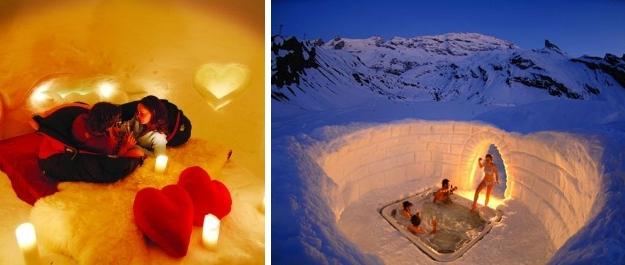 Stanza nell'igloo romantico e idromassaggio caldo all'aperto