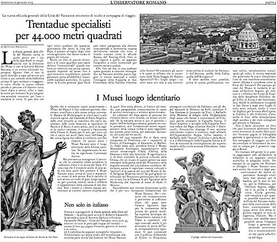 Pagina 5 Osservatore Romano con presentazione della Guida generale alla Città del Vaticano