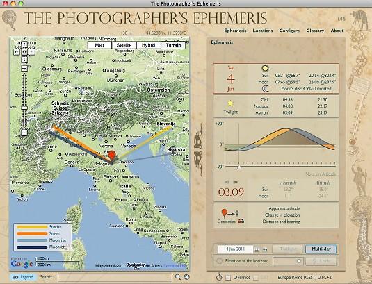 Le effemeridi per chi fotografa