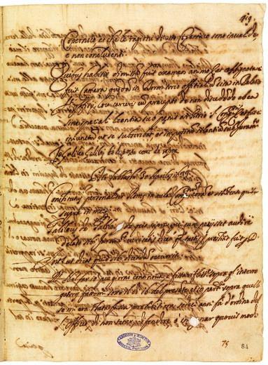 Pagina del verbale del processo a Galileo Galilei